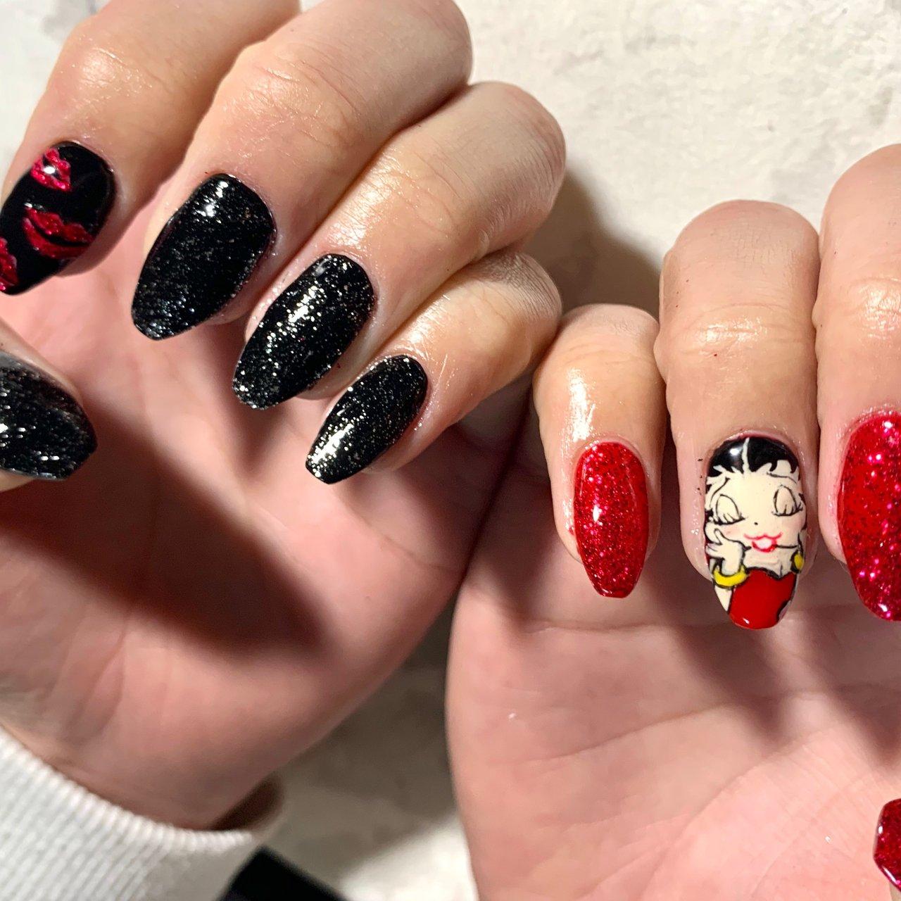 #キャラネイル#ベティーちゃん #Betty Boop#ラメネイル#ワンカラーネイル#キラキラネイル #mio.nail20 #ネイルブック