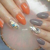 #くすみカラー #オレンジ #グレー #シンプル #1本アート  #美容師ネイル #nailroomLARME #ネイルブック