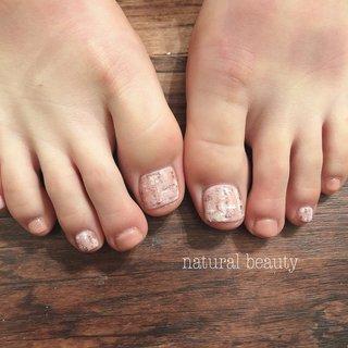 #秋 #冬 #デート #フット #ツイード #ショート #ベージュ #ピンク #naturalbeauty #ネイルブック