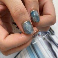 #オールシーズン #ハンド #ワンカラー #ニュアンス #マーブル #ミラー #ショート #ブルー #ネイビー #ジェル #お客様 #MOMOKO / wear nail #ネイルブック