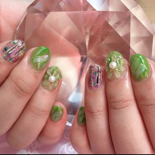 #オールシーズン #ハンド #フラワー #シェル #3D #ツイード #グリーン #カラフル #ジェル #お客様 #Chinami's nail #ネイルブック