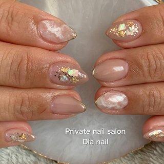 #ジェルネイル #春 #オフィス #ハンド #グラデーション #シェル #Private nail salon Dia nail #ネイルブック