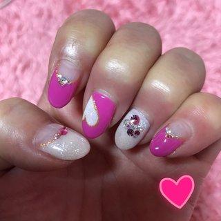 今回は、プリティーにしました。  フレンチは、嫌いだけどチャレンジです。  てもとても可愛いくて、大満足です。 #ハンド #フレンチ #ミディアム #ピンク #ジェル #kikue #ネイルブック
