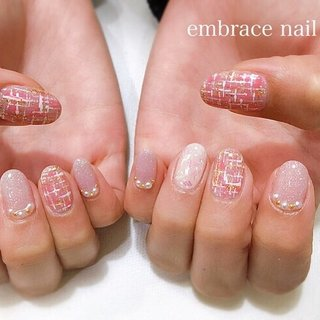 #ツイード #冬 #ハンド #ツイード #ミディアム #ピンク #ジェル #お客様 #embrace nail #ネイルブック
