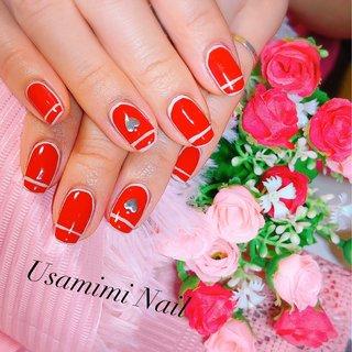 #vogue #frenchnails #red #ハンド #フレンチ #ワンカラー #ハート #ミディアム #レッド #グレー #シルバー #うさみみ #ネイルブック