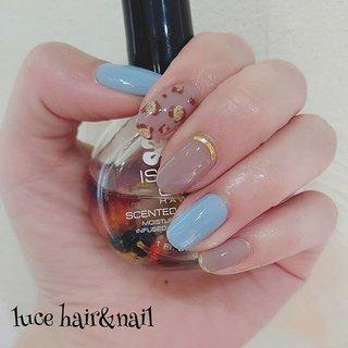 くすみブルー×レオパード パステル系の色と組み合わせるとレオパードも挑戦しやすいですよ! #春 #秋 #冬 #デート #ハンド #レオパード #ミディアム #水色 #グレージュ #ジェル #セルフネイル #lucemaya #ネイルブック