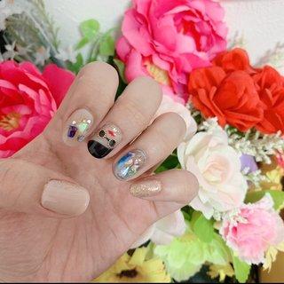 #オールシーズン #旅行 #デート #女子会 #ハンド #ラメ #ワンカラー #シェル #デコ #ブランド柄 #ベージュ #ブルー #ブラック #ジェル #セルフネイル #Chinami's nail #ネイルブック