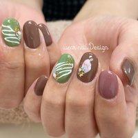 #春 #バレンタイン #ハンド #シンプル #ワンカラー #ショート #グリーン #ブラウン #スモーキー #ジェル #お客様 #MOMOKO / wear nail #ネイルブック