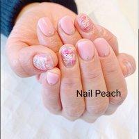 #押し花ネイル #Nail Peach #ネイルブック