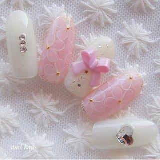 #リボン #3d #ピンク#春#お花ネイル #フラワー#レース#シアーネイル #春 #夏 #オールシーズン #オフィス #ハンド #フラワー #3D #リボン #レース #ホワイト #ピンク #ジェル #ネイルチップ #nail_kaji #ネイルブック