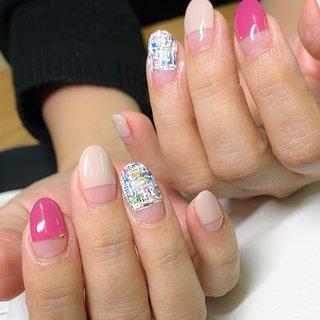 ✳︎デザインコース9500円✳︎ #春 #ハンド #ツイード #ミディアム #ピンク #ジェル #お客様 #lilac.nail #ネイルブック