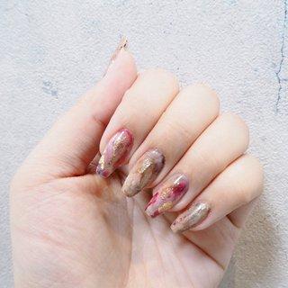 ニュアンスネイル #春 #冬 #バレンタイン #女子会 #ニュアンス #ピンク #ブラウン #グレージュ #Nail salon Heartful key #ネイルブック
