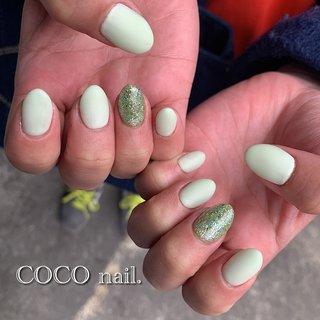 #ハンド #シンプル #ラメ #マット #グリーン #パステル #coco.nail3.1 #ネイルブック