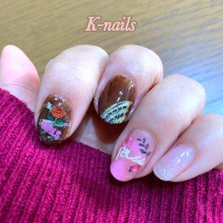 #バレンタインネイル #チョコレートネイル #ピンク#バラ#オールシーズン #カジュアル#ポップ#春#キラキラ#ホイル #ピーコック #ホイル #kei.on.nail #ネイルブック