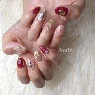 #ハンド #ラメ #フラワー #アンティーク #ミラー #ピンク #ボルドー #メタリック #Jouir for beauty - hair nail eyelash- #ネイルブック