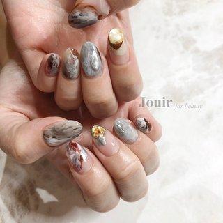 #ハンド #ニュアンス #マーブル #水色 #ブラウン #シルバー #Jouir for beauty - hair nail eyelash- #ネイルブック