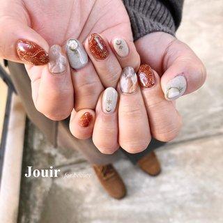 #砂ジェル #タイルアート #ハンド #アンティーク #エスニック #ボヘミアン #ボルドー #ブラウン #グレージュ #Jouir for beauty - hair nail eyelash- #ネイルブック