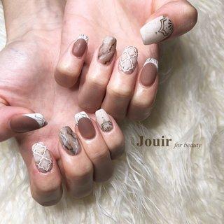 #タイルアート #ハンド #アンティーク #エスニック #ボヘミアン #ベージュ #ブラウン #グレージュ #Jouir for beauty - hair nail eyelash- #ネイルブック