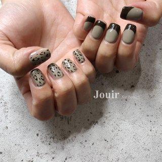 #左右非対称 #アシンメトリー #ハンド #シンプル #フレンチ #変形フレンチ #レオパード #ブラウン #グレージュ #Jouir for beauty - hair nail eyelash- #ネイルブック