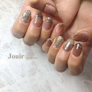 #ハンド #変形フレンチ #ラメ #ミラー #ブラウン #グレージュ #シルバー #Jouir for beauty - hair nail eyelash- #ネイルブック