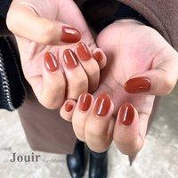 #ハンド #シンプル #ワンカラー #シースルー #レッド #ボルドー #ブラウン #Jouir for beauty - hair nail eyelash- #ネイルブック