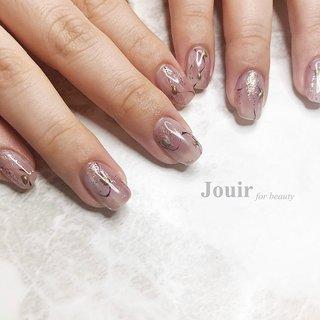 #ハンド #シンプル #アンティーク #ニュアンス #和 #ピンク #パープル #グレージュ #Jouir for beauty - hair nail eyelash- #ネイルブック