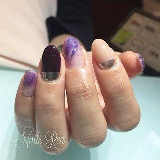 . purple chocolate💜 . . #purplenails #mirrornails #purplechocolate #nails #nailstagram #nailart #naildesign #gelnails #gelpolish #ネイルアート #美甲 #指甲彩繪 #一層残し #フィルイン #nailsren #ネイルズレン #狛江ネイルサロン #狛江ネイル #狛江 #こまえ #オールシーズン #旅行 #ハロウィン #女子会 #ニュアンス #ミラー #パープル #シルバー #ジェル #お客様 #Ren #ネイルブック