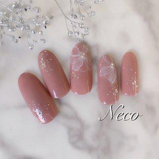 #ハンド #ラメ #フラワー #ピンク #ジェル #ネイルチップ #nail salon Neco #ネイルブック