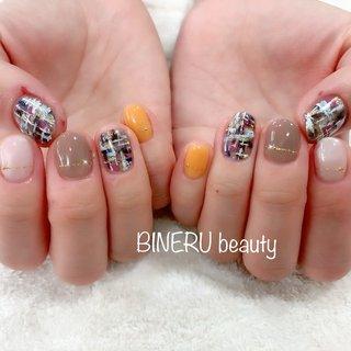 ツイードネイル🧡 #カラフルネイル #ツイードネイル #お仕事ネイル #BINERU beauty #BINERU beauty #ネイルブック