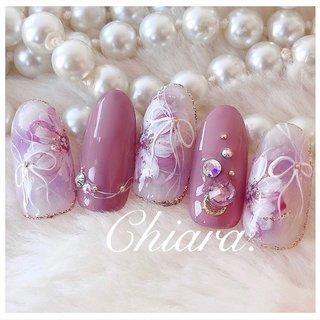 *  サンプルチップより💍♡  #flowernails         Instagram → yochan4.nail #春 #夏 #オールシーズン #フラワー #シースルー #チーク #ホワイト #ピンク #パープル #YokoShikata♡キアラ #ネイルブック
