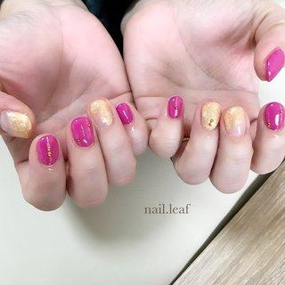 #オールシーズン #デート #女子会 #シンプル #ラメ #ピンク #ゴールド #お客様 #nail.leaf【リーフ】 #ネイルブック