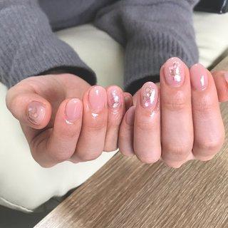 #オールシーズン #オフィス #デート #女子会 #シェル #ピンク #お客様 #nail.leaf【リーフ】 #ネイルブック