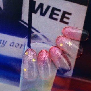 ¥4500💅🏻 カラー変更+¥500  こちらはシースルーカラーとなります。 #nail #nails #naildesign #nailstagram #noirouge #ネイル #ジェルネイル #ネイルデザイン #春 #オールシーズン #ハンド #グラデーション #星 #ピンク #NOIROUGE #ネイルブック