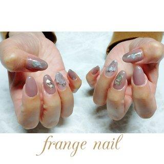 #ハンド #ラメ #シェル #ニュアンス #グレージュ #ジェル #お客様 #frange nail #ネイルブック
