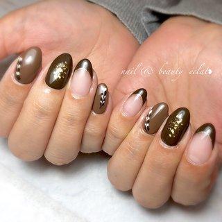 #バレンタインネイル#ブラウンネイル#ピーコック #nail & beauty éclat❥ #ネイルブック