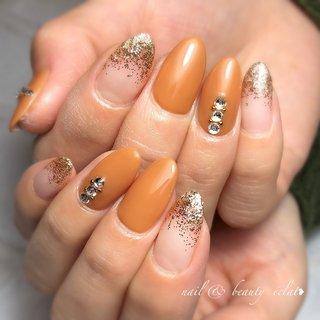 #ワンカラーネイル#ラメグラデーション #ブラウンネイル #nail & beauty éclat❥ #ネイルブック