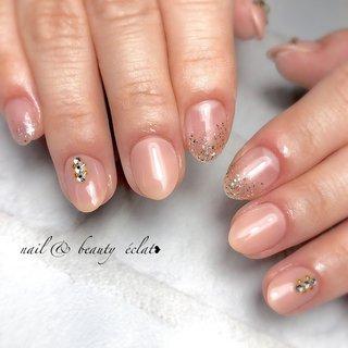 #ピンクネイル#ラメグラデーション #ワンカラーネイル#オフィスネイル #nail & beauty éclat❥ #ネイルブック