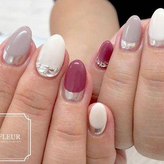 たくさんカラーを使いたい!とのご希望♡  pdフレンチと合わせて すっきりまとめました♬ #オールシーズン #フレンチ #変形フレンチ #ピンク #グレージュ #fleur nailsalon #ネイルブック