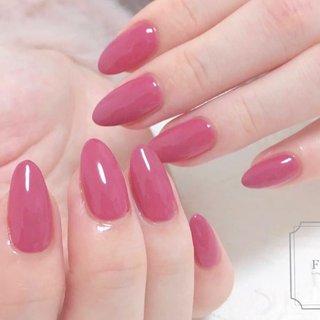 ワンカラーネイル♡  甘皮ケアや角質もしっかりとって つるつるな指先に映える ピンクネイルに♬ #オールシーズン #旅行 #ハンド #シンプル #ワンカラー #ピンク #fleur nailsalon #ネイルブック