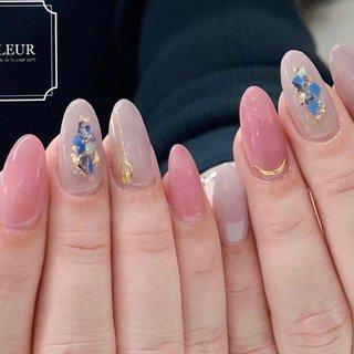 くすみカラーにシェル☺︎ 美爪さん♡  キャンペーンネイルより♡ #オールシーズン #ハンド #シンプル #ピンク #パープル #fleur nailsalon #ネイルブック