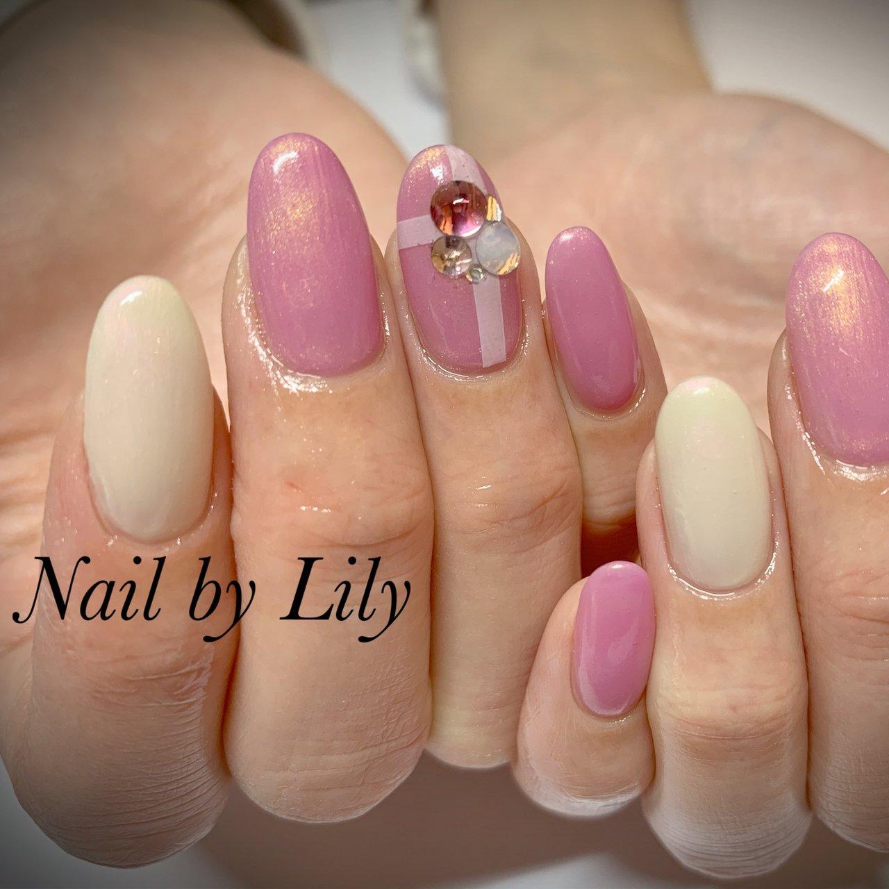 #シンプル#ピンク #LILY #ネイルブック