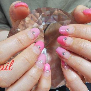 ピンクのハーフフレンチ #オールシーズン #ハンド #フレンチ #変形フレンチ #ピンク #ジェル #お客様 #S-nail #ネイルブック