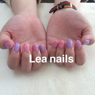 #ハンド #ニュアンス #ショート #ピンク #パープル #ジェル #お客様 #Lea_nails #ネイルブック