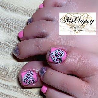 #naildesign #instalike #instagram #nails #toenail #leopard #leopardnails #valentine #MsOopSy OopSy #ネイルブック