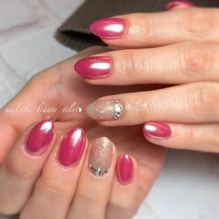#ピンクネイル#ピンクミラーネイル#ミラーネイル #nail & beauty éclat❥ #ネイルブック