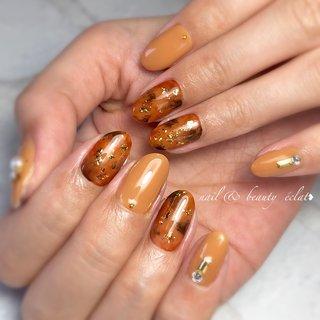 #べっ甲ネイル#ブラウンネイル#ワンカラーネイル #nail & beauty éclat❥ #ネイルブック