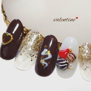 #バレンタイン #バレンタインネイル #チョコレート #チョコネイル #トリュフ #トリュフネイル #グラデーション #バレンタイン #ハンド #ff #ネイルブック