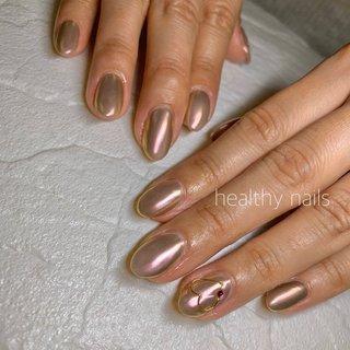 #オールシーズン #バレンタイン #ハンド #シンプル #ラメ #ミラー #healthy nails #ネイルブック