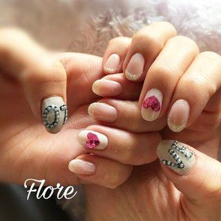 #バレンタインネイル お持ち込みのキュートなデザイン❤️❤️ #バレンタイン#valentine #valentine nails#nailbook#nails#ネイルブック掲載店 #ネイルブック #Haru #ネイルブック
