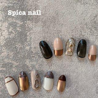 New art sample☽☽☽ ㅤ 久しぶりに、シンプルコースのアートサンプル作りました🤎 ㅤ スピカネイルの時間制アートコースは、時間内でしたら、アートの組み合わせ、カラーチェンジ、なんでも自由です٩(•̤̀ᵕ•̤́๑)ᵒᵏᵎᵎᵎ 持ち込みのデザインでも🙆♀️ ㅤ  お誕生日月のお客様は、15%off🎁ㅤ  1.5hコース(オフ込)¥8,500(初回¥7,500)  #nail#nails#nailart#naildesign#nailsalon#gelnail#spicanail#ebisu#spica_nail#ネイル#ネイルアート#ネイルデザイン#ジェルネイル#スピカネイル #恵比寿#恵比寿ネイルサロン#ネイルサロン#美甲#指甲#定額制ネイルサロン#ongles#onglesengel#nagel#handdrawings#unghia#clavo#nagel#オシャレさんと繋がりたい#シンプルネイル#ミラーネイル#レトロピンクミラーネイル #オールシーズン #パーティー #デート #女子会 #ハンド #シンプル #フレンチ #ニュアンス #バイカラー #ミラー #ミディアム #ブラウン #グレージュ #メタリック #ジェル #ネイルチップ #spicanail_ebisu #ネイルブック